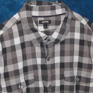 Apt.9 short sleeve button up! Grey and black.